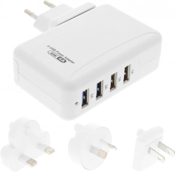 USB-Netzteil 4fach plus Stromadapter-Set